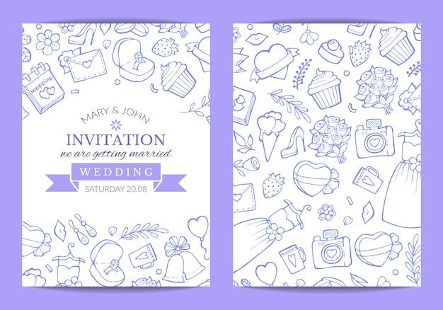 Doodle zaproszenia ślubne szablon plakat ilustracja