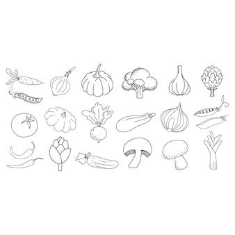 Doodle zarys kolekcji ikon warzyw ilustracja wektorowa dla karty druku logo ikony