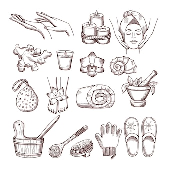 Doodle zdjęcia ustawione na relaks lub masaż w salonie spa. ilustracje aromaterapii. aromaterapia i spa dla odnowy biologicznej i relaksu