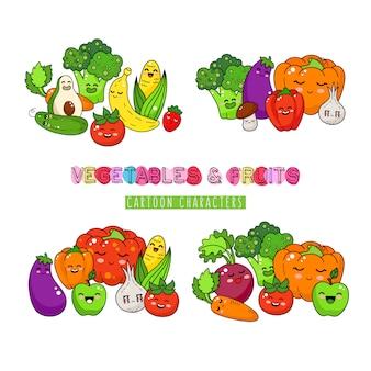 Doodle zdrowe warzywa i owoce. szczęśliwa naklejka na jedzenie, duża kolekcja.