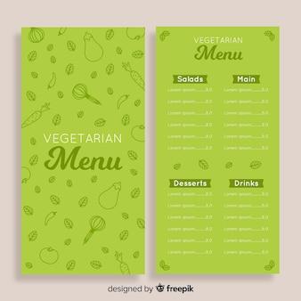 Doodle zdrowy menu szablon