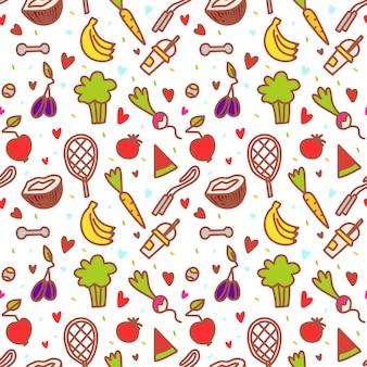 Doodle zdrowych elementów. owoce, guma, warzywa. zjedz, co chcesz, na dzień.
