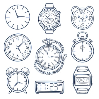 Doodle zegarek, zegarowe wektorowe ikony. ręcznie rysowane czas wektorowe ikony na białym tle. zegar i zegarek czas, ilustracja alarmowy rysunek, doodle stoper