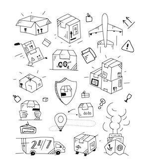 Doodle zestaw dostawy. zarys kolekcji logistycznej. ręcznie rysowane elementy transportu. doodle pudełko i opakowanie. ilustracja wektorowa.