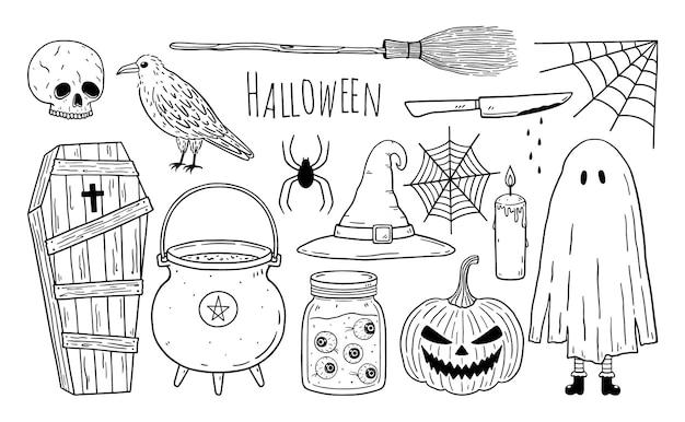 Doodle zestaw elementów halloween trumna czaszka kruk wiedźmy kocioł dynia pajęczyna duch
