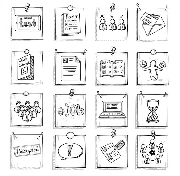 Doodle zestaw elementów rozwoju kariery biznesowej