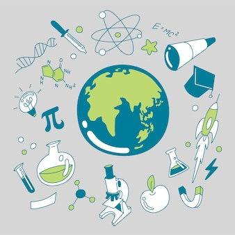 Doodle zestaw ikon nauki