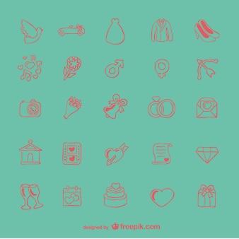 Doodle zestaw ikon ślubu