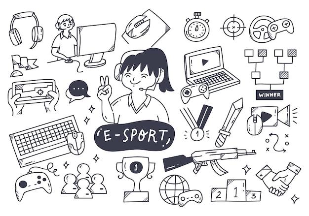 Doodle zestaw ilustracji mistrzostw e-sportu