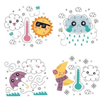 Doodle zestaw ilustracji naklejek pogodowych wyciągnąć rękę