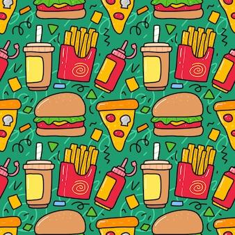 Doodle zestaw kolekcja elementu fast food.