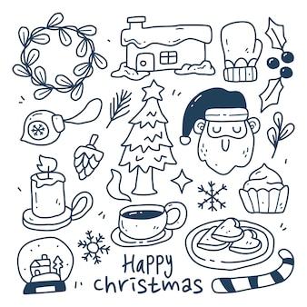 Doodle zestaw kolekcja świąteczny element na na białym tle. wesołych świąt
