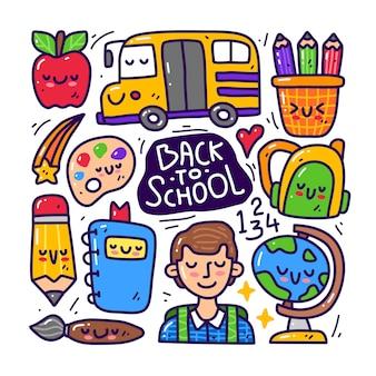 Doodle zestaw kolekcja z powrotem do elementu szkolnego.