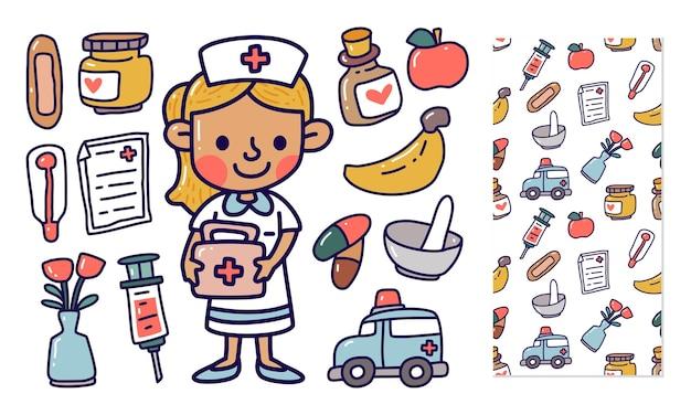 Doodle zestaw kolekcji elementu pielęgniarki
