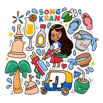 Doodle zestaw kolekcji festiwalu songkran