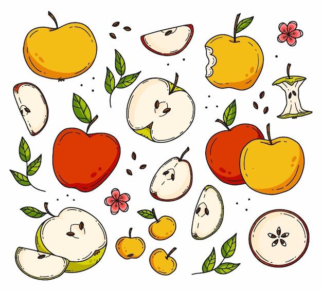 Doodle zestaw kolorów w stylu różnych jabłek i plasterków jabłek