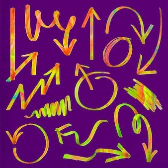 Doodle zestaw kolorowych strzałek z podświetleniem