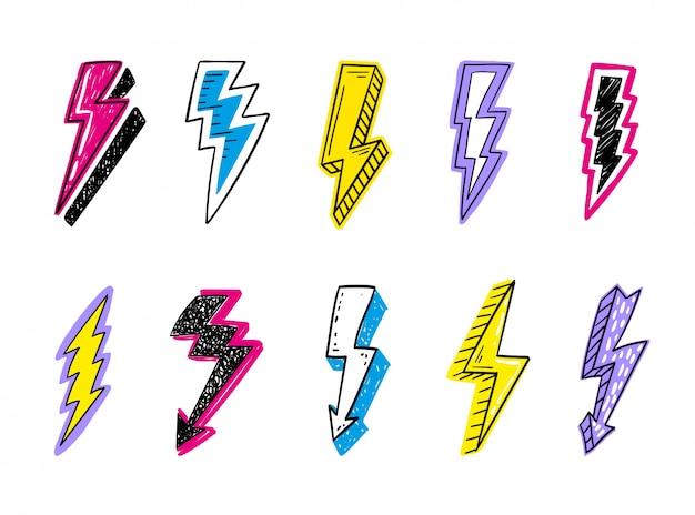 Doodle zestaw logo błyskawice. pojęcie energii i elektryczności. kolekcja flash kreskówka. symbole mocy i elektryczne, duża prędkość, szybkość i szybki emblemat.
