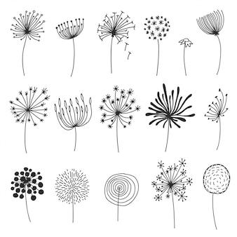 Doodle zestaw mniszka lekarskiego. ręcznie rysowane dmuchawki lub kwiaty z puszystymi nasionami, elementy projektu kwiatowe sylwetki