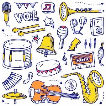 Doodle zestaw muzyczny ręcznie rysowane stylu