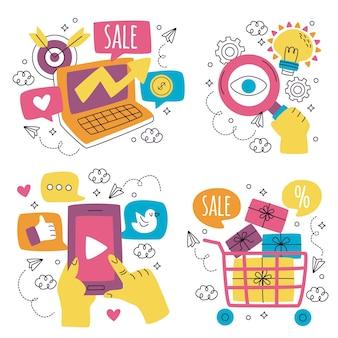 Doodle zestaw naklejek marketingowych wyciągnąć rękę