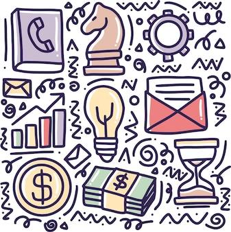 Doodle zestaw narzędzi biznesowych, rysunek z ikonami i elementami projektu