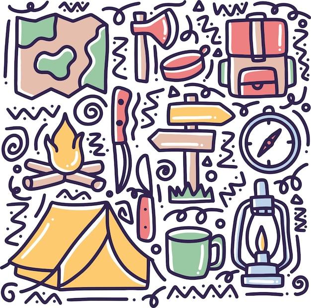 Doodle zestaw narzędzi obozowych strony rysunku z ikonami i elementami projektu