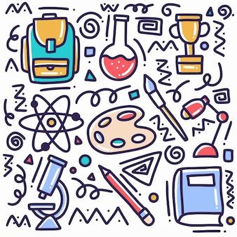 Doodle zestaw narzędzi szkolnych wyciągnąć rękę z ikonami i elementami projektu