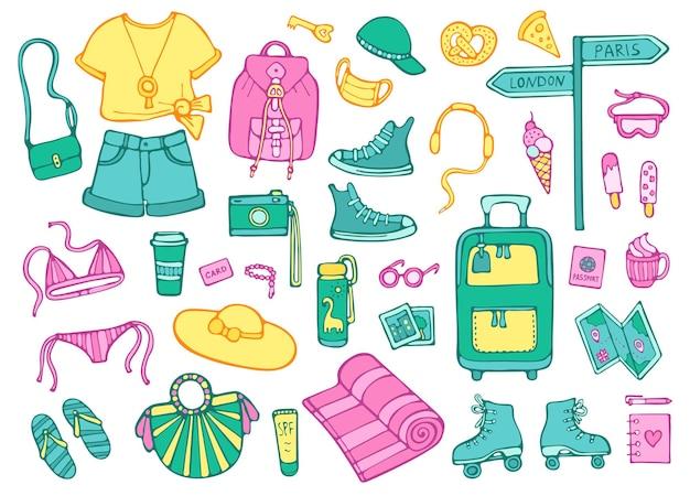 Doodle zestaw obiektów i elementów letnich podróży