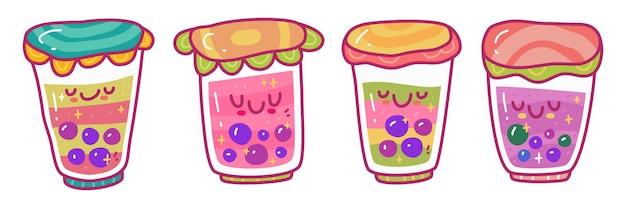 Doodle zestaw ollection napoju herbaty bąbelkowej boba. można użyć do naklejki itp.