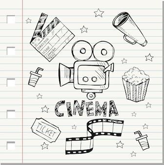 Doodle zestaw prostych ikon kina