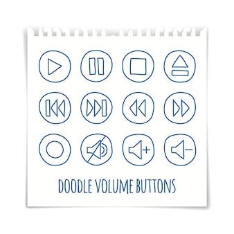 Doodle zestaw przycisków głośności, pióro rysowane efekt, ilustracji wektorowych.