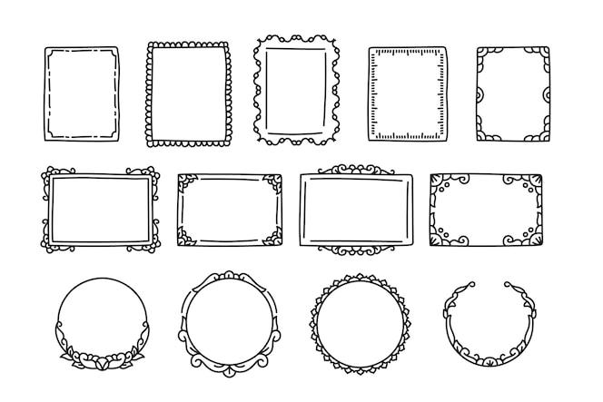 Doodle zestaw ramek ręcznie rysowane stylu