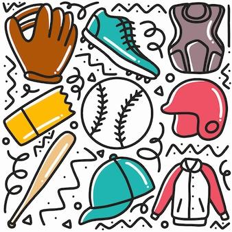 Doodle zestaw rysunek ręka sporty baseballowe z ikonami i elementami projektu