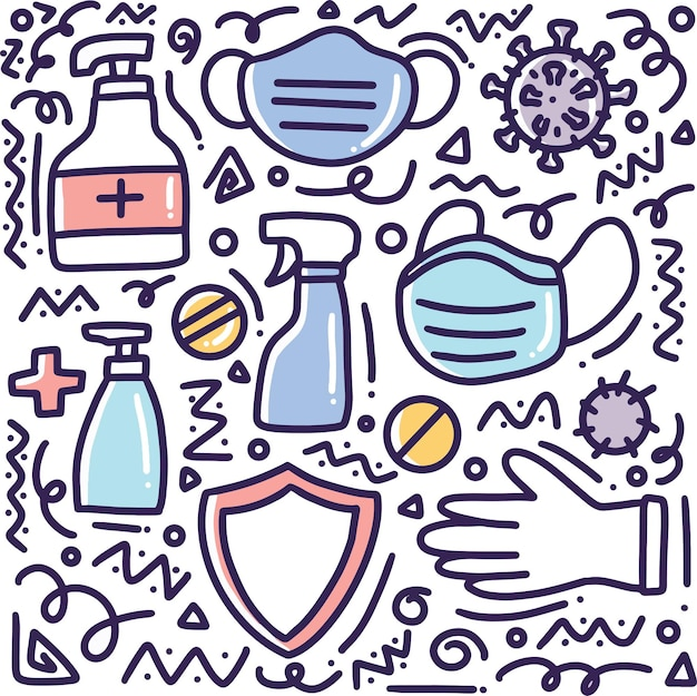 Doodle zestaw rysunek ręka zdrowego stylu życia z ikonami i elementami projektu