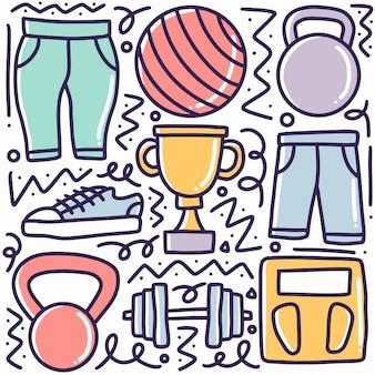 Doodle zestaw sportowego rysunku ręki z ikonami i elementami projektu