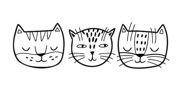 Doodle zestaw uroczych twarzy kotów. ręcznie rysowane koty na białym tle. ilustracja wektorowa