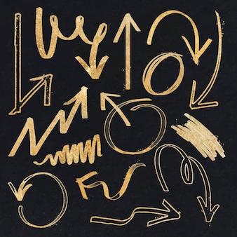 Doodle zestaw wektora złotej strzałki podświetlenia