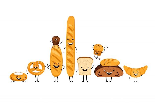Doodle zestaw znaków chleba