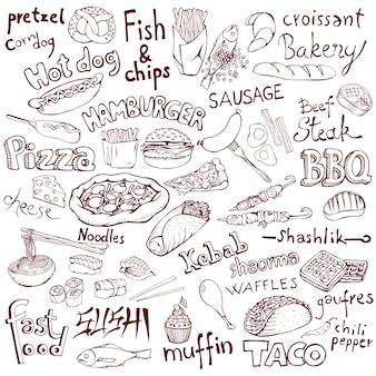 Doodle zestaw żywności i napisy.