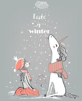 Doodle zima ręcznie rysowane księżniczka z jednorożcem