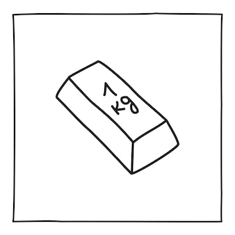Doodle złote sztabki 1 kg ikona ręcznie rysowane cienką czarną linią