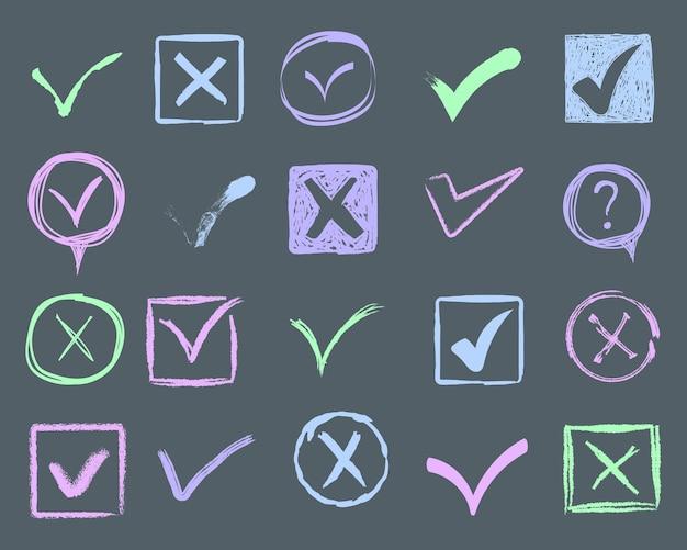Doodle znaczniki wyboru i podkreślenia. ręcznie rysowane pociągnięcia i oznaczenia piórem znaki v dla elementów listy. rysowane elementy markerów, flagi, kleszcze, podkreślenia, linie pędzla, okręgi, prostokąty. ilustracja.