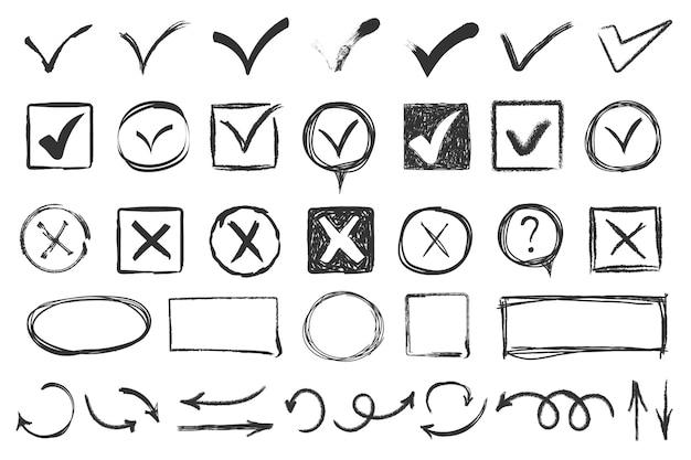 Doodle znaczniki wyboru. sprawdź znaki szkicu, głosuj zgodnie z listą kontrolną lub listą zadań egzaminacyjnych. ręcznie rysowane zaznaczyć vx tak nie ok znak. ikona kredy pole wyboru, szkic zaznaczenie.