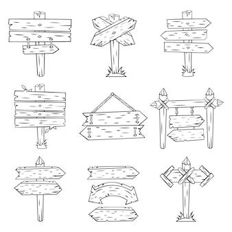 Doodle znaki drewna