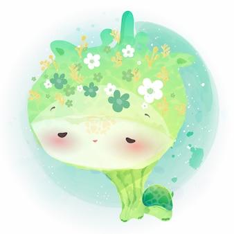 Doodle żółw malarstwo akwarela w kwiatowy.