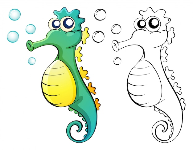 Doodle zwierząt dla konika morskiego