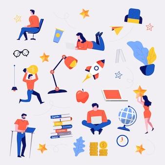 Doodles elementów zestaw biznesmen koncepcja płaska konstrukcja i różne obiekty biurowe