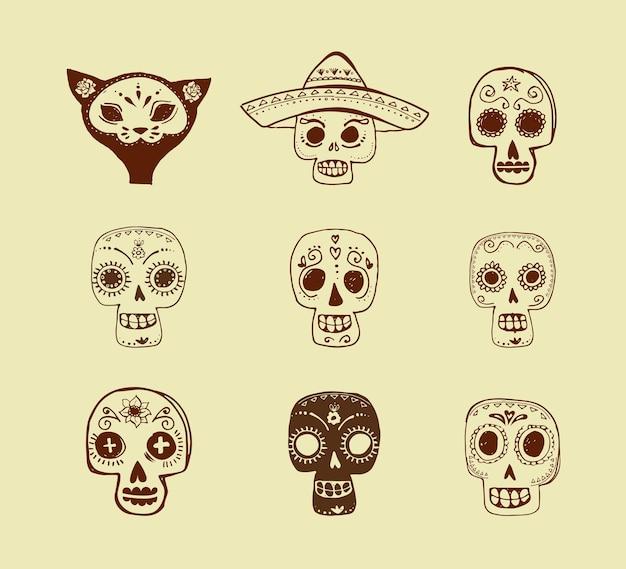 Doodles meksykańska czaszka ustawić dzień zmarłych