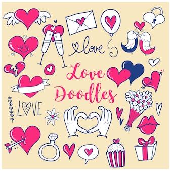 Doodles miłości i serca, ilustracja
